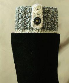 Handmade Dark Gray Marble/Wheat Cream Boot Cuffs Boot Toppers Leg Warmers