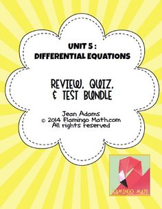 In this bundled set you will find all you need to prepare your AP Calculus students for a better understanding of DIFFERENTIAL EQUATIONS. The unit is designed to cover the material in-depth and to challenge your CALCULUS students. All keys are included.