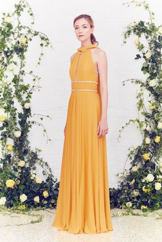 Jenny Packham Resort 2016: I'm picky with orange but I like this light orange color! I like the halter with the long keyhole and embellishments as a belt. Very ethereal.