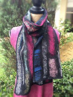 Nuno felt scarf wool scarf long scarf hand felt by SilkWoolTouch Nuno Felt Scarf, Nuno Felting, Long Scarf, My Etsy Shop, Wool, Silk, Trending Outfits, Shopping, Fashion