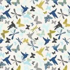 Birds & Butterflies in Blue / Joyful Garden Collection / Studio E House / includes dragonflies in the design