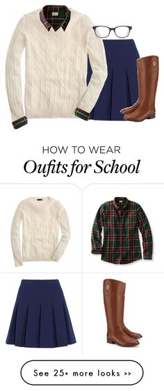 """""""What I would wear on a school uniform"""" by mac-moses on Polyvore featuring Diane Von Furstenberg, J.Crew, GlassesUSA and Tory Burch"""