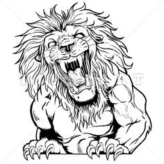 Mascot Clipart Image of A Roaring Lions Graphic In Black And White