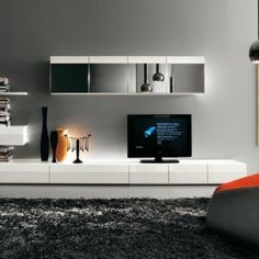 Modern TV Wall Units for Living Room Designs - Image 15 : Black and White Simple Splendid TV Wall Mount with Bookcase