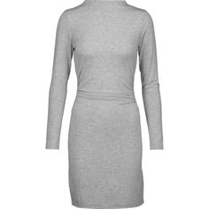 Kain Streeter ruched modal-blend mini dress ($92) ❤ liked on Polyvore featuring dresses, light gray, shirred dress, lightweight dresses, light gray dress, side ruched dress and light grey dress