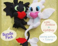 PDF pattern to make a felt Emily and Victor, characters of the Corpse bride. Sewing Stitches, Pdf Sewing Patterns, Print Patterns, Pattern Design, Free Pattern, Sewing Class, Sewing Toys, How To Train Your Dragon, Little Gifts