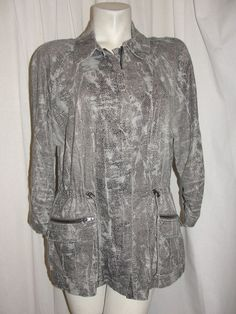 CHICO'S Black Gray Pebbled Print 3/4 Sleeve Jacket Zip Front Linen Rayon Sz 3 XL #Chicos #BasicJacket #Casual