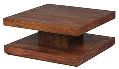 Sheesham Couchtisch Massiv 90 x 90 x 40 cm mit Ablage Massivholz