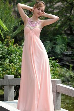 Pretty Prom Dresses 2013 New Arrival Empire Waist Scoop Chiffon Floor Length 30633 online shop affordable for fashion