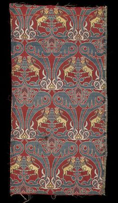 """Dress or furnishing textile Place of origin: Granada, Spain (Probably, made) Date: 1490-1550 Materials and Techniques: Silk lampas. Dye samples of this textile were analysed as part of the project """"Characterization of Late Antique and Early Medieval textile production: Coptic, Sasanian, Byzantine and Spanish Muslim textiles in Spanish national collections"""" The results for this textile were as follows:  Red - Kermes  Yellow - Gualda  Green - Indigo & Gualda  Museum number: 678D-1896 