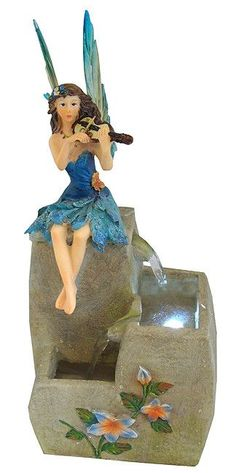 """13"""" LED Lighted Blue Fairy Outdoor Water Fountain Garden Figure"""