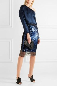 By Malene Birger - Mandias Sequined Stretch-mesh Skirt - Royal blue -