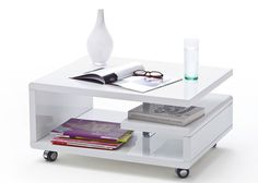 Couchtisch Weiß Hochglanz Kira 74x60 Wohnzimmertisch auf Rollen 8811. Buy now at https://www.moebel-wohnbar.de/couchtisch-weiss-hochglanz-kira-74x60-wohnzimmertisch-auf-rollen-8811