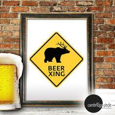 Beer Xing, Beer Home Decor, Beer Wall Signs, Bear Wall Art,Bar Art,Beer Art Prints, Beer Lover, Man Cave Wall Decor, Bear Art, Traffic Sign