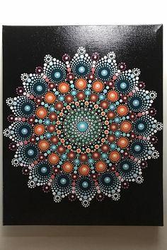 Hand Painted Mandala on Canvas Meditation Mandala Dot Wall