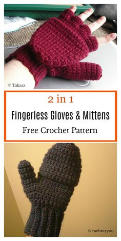 2 in 1 Fingerless Gloves & Mittens Free Crochet Pattern - handschuhe sitricken Crochet Mittens Free Pattern, Fingerless Gloves Crochet Pattern, Fingerless Mitts, Knitted Gloves, Crochet Patterns, Crochet Hats, Diy Crochet, Crochet Clothes, Knitting Patterns