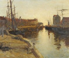 catonhottinroof:  Attributed to Terrick John Williams (1860-1936) Fishing Boats and Other Shipping in a Harbour