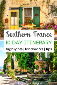 "Dreaming of a vacation in southern France? The South of France is dreamy, bucolic history book of a land. It boasts medieval villages, clifftop panoramas, pastel houses, and a ""step back in time"" vibe. This 10 day southern France itinerary takes you to the regions of Occitanie, Provence, and the Luberon Valley. You'll discover all the picturesque must see towns, historic landmarks, and unmissable destinations. If you want to know what to see, do, and experience in southern France, read on!"