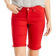 Women's Levi's Cuffed Jean Bermuda Shorts, Size: 12/31, Red