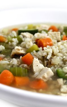 Chicken, Brown Rice and Vegetable Soup.  All these healthy ingredients make for a very hearty NEW soup meal. Each large 2 cup serving has 258 calories, 3 grams fat & 6 Weight Watchers POINTS PLUS. http://www.skinnykitchen.com/recipes/%EF%BB%BFchicken-brown-rice-and-vegetable-soup/