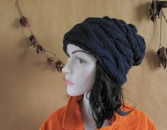 Womens Slouchy Knit Hat Dark Blue Hat Man Beanie by recyclingroom