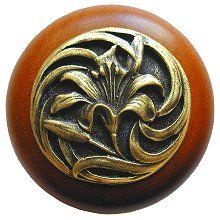 Tiger Lily Wood Knob in Antique Brass /Cherry wood finish…