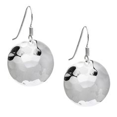 Silver 925 Hammered Disc Drop Earrings