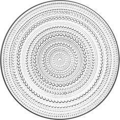 In 1964 Oiva Toikka's aim was to design a pattern that would conceal the joint marks in pressed glass. The result was Kastehelmi, Finnish for dewdrop, that features delicate glass droplets arranged in a series of rings. Side Plates, Serving Plates, Clear Glass, Glass Beads, Design3000, Large Plates, Pressed Glass, Salad Plates, Plate Sets
