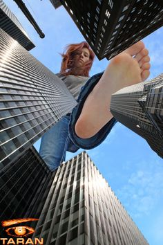 Giantess Booru (Image 188597: barefoot collage giantess imminent_crush looking_at_viewer looking_down low_angle point_of_view raised_foot redhead sky skyscrapers sole taran) - Giantess Artwork, Giantess Collages, Giantess Vore, Giantess Everything!