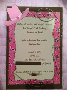 Personalized Cowgirl Themed Invitations by tootieloudesigns, $2.00