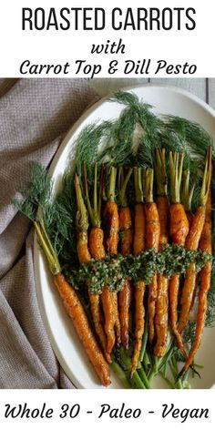Sweet roasted carrots topped with a zesty dill and carrot top pesto. It's so simple to make this stunning vegetable side! A great way to prevent food waste. Potato Gnocchi Recipe, Sweet Potato Gnocchi, Gnocchi Recipes, Healthy Side Dishes, Side Dish Recipes, Vegetable Recipes, Roasted Carrots, Roasted Vegetables, Veggies