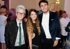 Tyler Oakley and Zalfie aka Zoe Sugg and Alfie Dayes at Zoella Beauty Launch British Youtubers, Best Youtubers, Pointless Blog, Wonderland Events, Zoella Beauty, Zoe Sugg, Michelle Dockery, I Adore You, Tyler Oakley