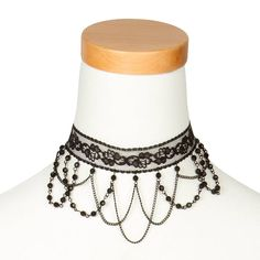 Black Lace Choker with Crystals and Chain Swag | Claire's