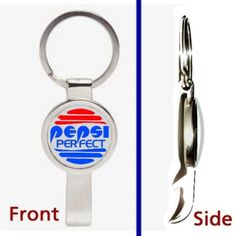 Back To The Future Pepsi Perfect Pennant Keychain silver tone secret bottle opener. Silver tone pennant or key ring that is really a bottle opener. Image is full color and behind a clear, protective bubble giving it a 3D look. This comes ready to use as a key chain but if you take the key ring off a chain can be put through it to use as a necklace. Without the keyring its about 2 1/2 inches long. Remember it is also a very sturdy bottle opener.