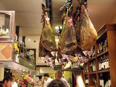 Casa Gandarias ~ Specializing in Iberian hams and meats as well as other more traditional style pintxos. Casa Gandaria has enomatic  machines (wine dispensing machines) making it easier to decide which wines to order. #San_Sebastian #Casa_Gandarias #Pintxos #Iberian_Hams