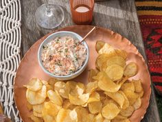 Sharp and tangy Copper Kettle Special Reserve Champagne Vinaigrette & Shallot chips are the perfect vessel for a scoop of this creamy, smoky and earthy dip. The richness of the cream cheese and salmon are offset with plenty of lemon and herbs, and the beautiful blush pink hue will look amazing on the table