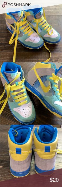 finest selection 777b1 64277 Nike dunks sz 7.5 clear hi 6.0 high top sneakers Nike dunks with clear  panel.