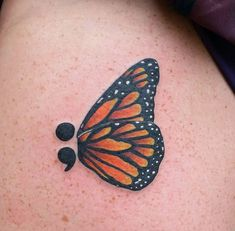 Monarch Butterfly Tattoo Designs with Meaning Semicolon Butterfly Tattoo, Unique Semicolon Tattoos, Semicolon Tattoo Meaning, Butterfly Tattoo Meaning, Butterfly Tattoo Designs, Unique Tattoos, Gorgeous Tattoos, Weird Tattoos, Body Tattoos