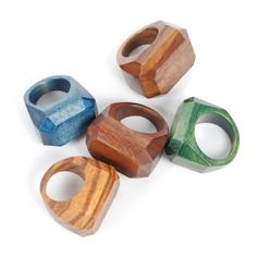 wood gem rings...handmade