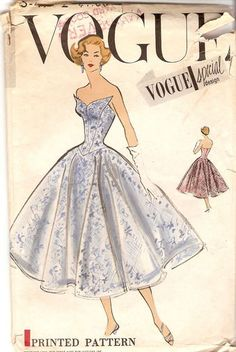 "Vogue S-4772; ©1957; ONE PIECE DRESS ""EASY TO MAKE"". Two-piece circular skirt with circular..."