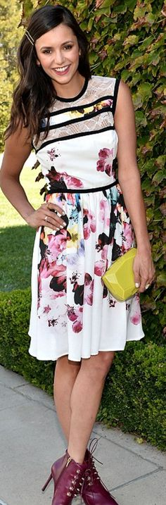 Who made Nina Dobrev's white floral lace dress, yellow clutch handbag, and red ankle boots?