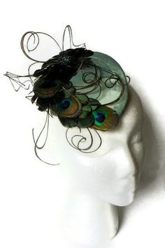 4beaa94c12a Teal Peacock Feather Silk Cocktail Hat by SouthernCarnival on Etsy Šaty Z 50.  Let