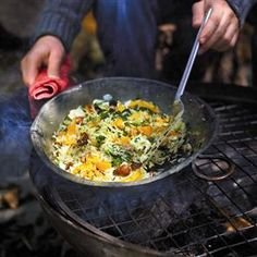 Fried rice with butternut squash, chestnuts and chard recipe.