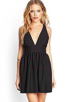 If I only had the right bra for this, this is so good..... Mesh Plunge Skater Dress | FOREVER21 - 2000120932
