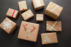 Brown Paper Christmas Gift Wrapping Idea: Washi Tape