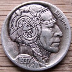 PAUL HOLBRECHT HOBO NICKEL - THE PILOT II - 1937 BUFFALO PROFILE Hobo Nickel, Coin Art, Old Money, Old Coins, Silver Dollar, Silver Coins, Art Forms, Sculpture Art, Hand Carved