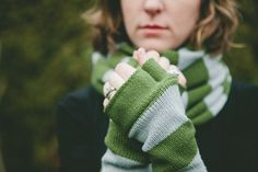 Upcycled Sweater Cowl Scarf and Armwarmers