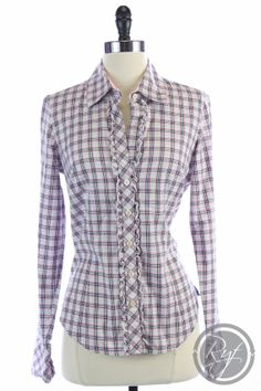 Lilly Pulitzer SUPER CUTE checkered dress shirt with a ruffle! How cute!