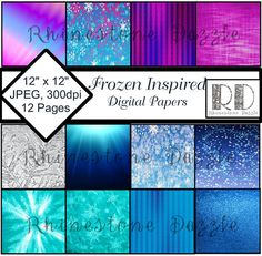 "Frozen Digital Papers, ""FROZEN INSPIRED"" printable premade paper, digital paper pack, digital background, ice paper, snowflakes, scrapbook"