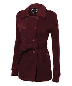 Another great find on #zulily! Burgundy Fleece Belted Peacoat #zulilyfinds